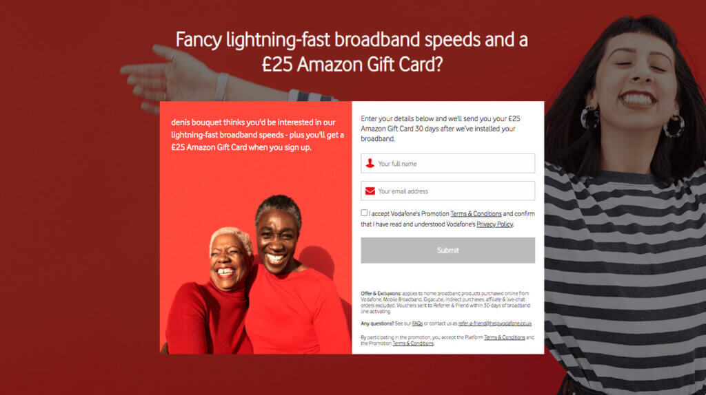 Vodafone broadband referral code invite, get an amazon gift card when you join vodafone broadband