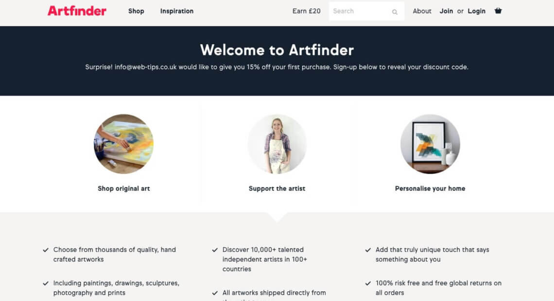 Artfinder referral code, get a discount bonus with this refer a friend link