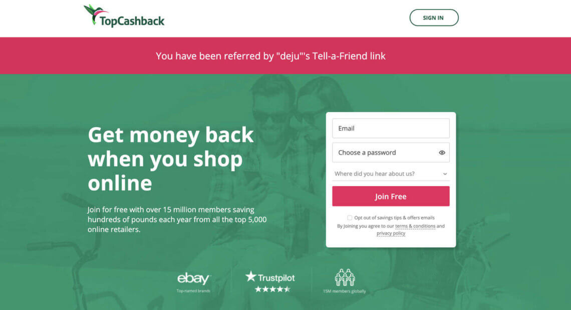 Topcashback invitation bonus UK, join with this top cashback refer a friend link