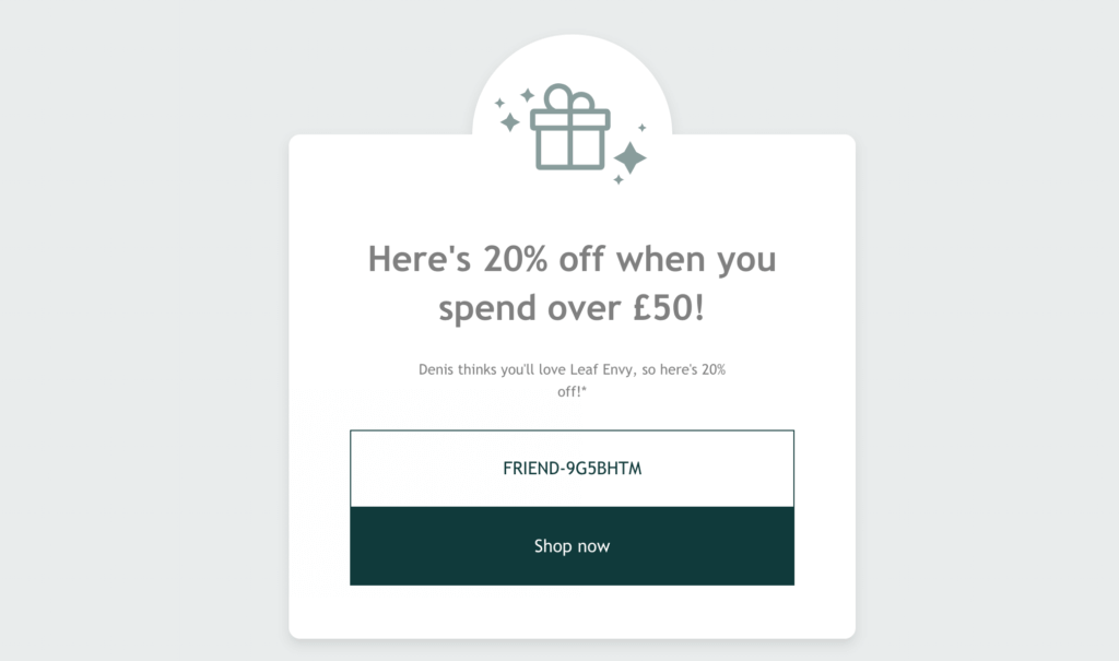 Leaf Envy referral code 20% off discount with a refer a friend invite