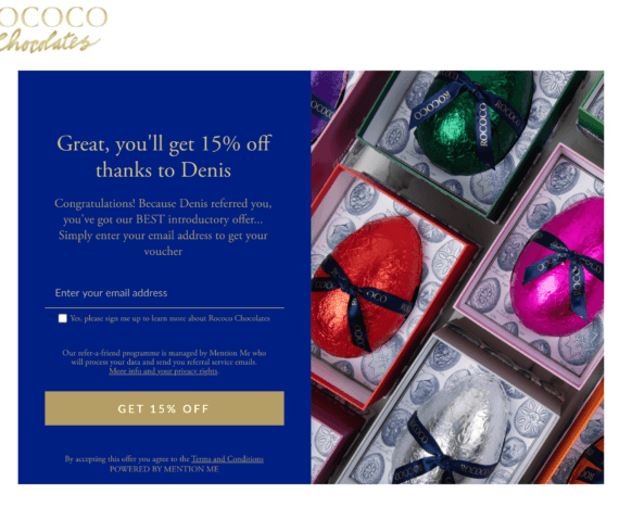 Rococo chocolates referral code discount for 15% off your first order - UK refer a friend offer