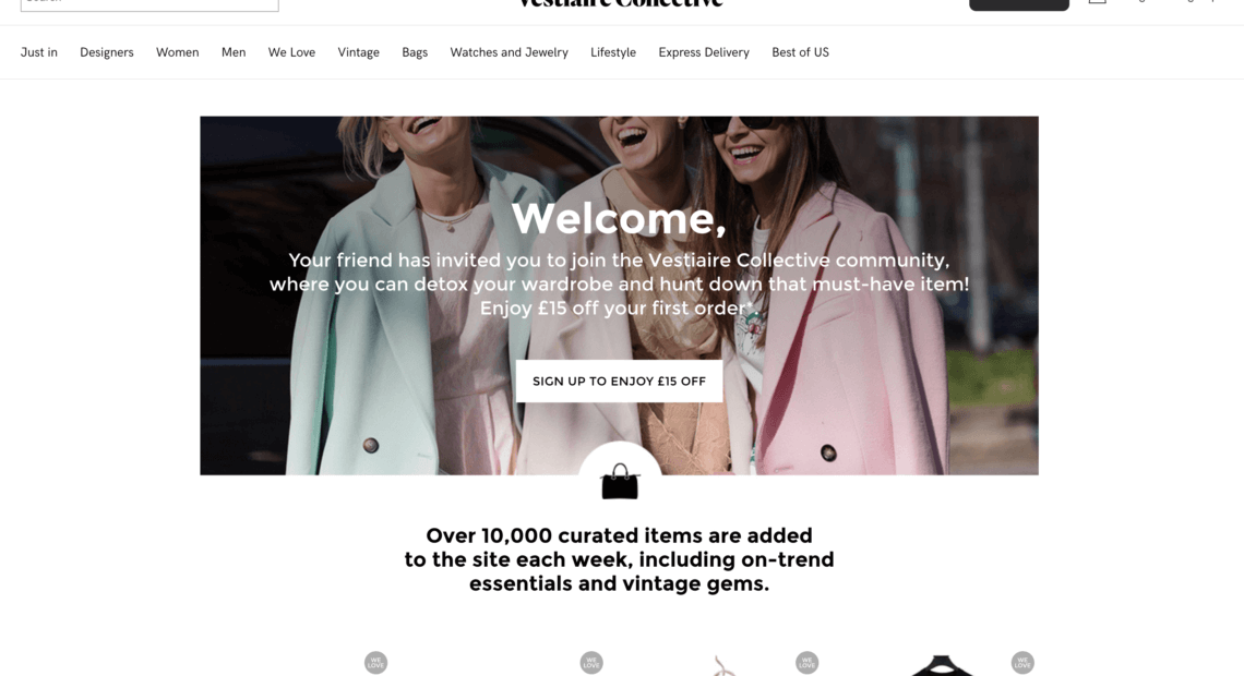 Vestiaire Collective referral code discount for £15 off over £100