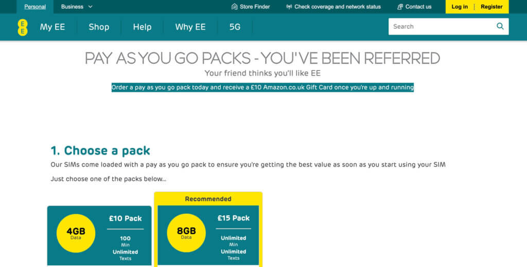 EE Pay As You Go sign up bonus, get your voucher code for £10 Amazon voucher