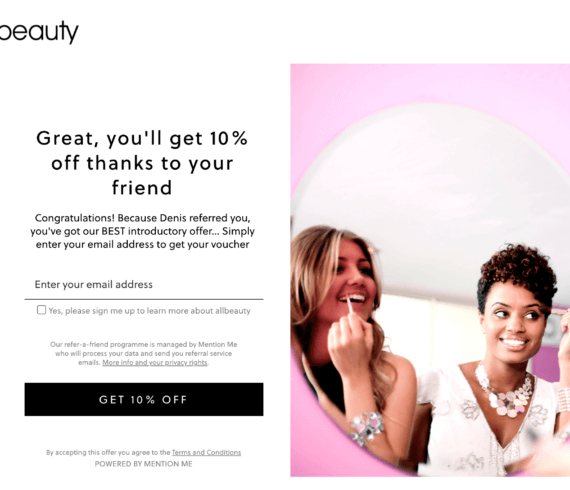 Allbeauty referral code 10% your first order with this allbeauty refer a friend invitation.
