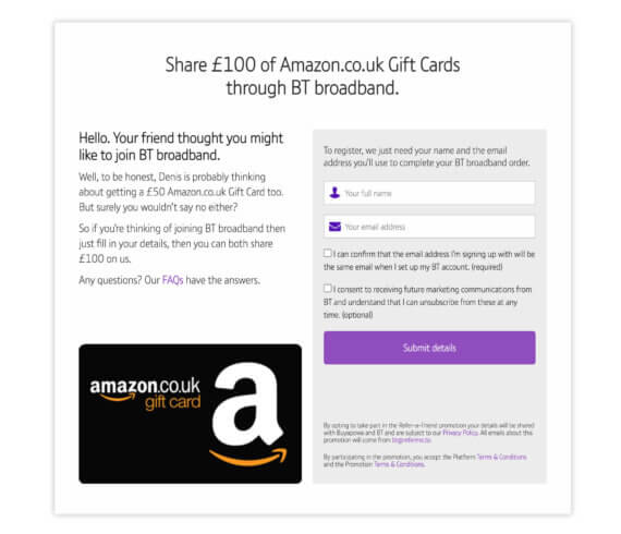 How to get a BT referral code for a £50 Amazon.co.uk voucher - refer a friend offer 2021