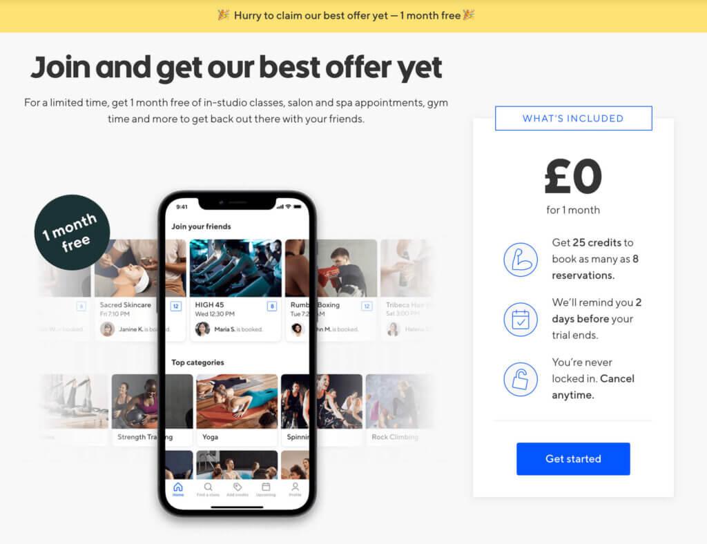 ClassPass UK referral code, get 25 free credits