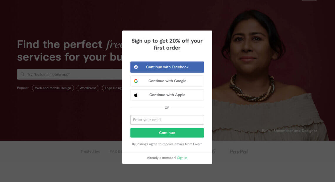 Fiverr referral invitation, 20% off your first purchase up to $100 with this sign up bonus
