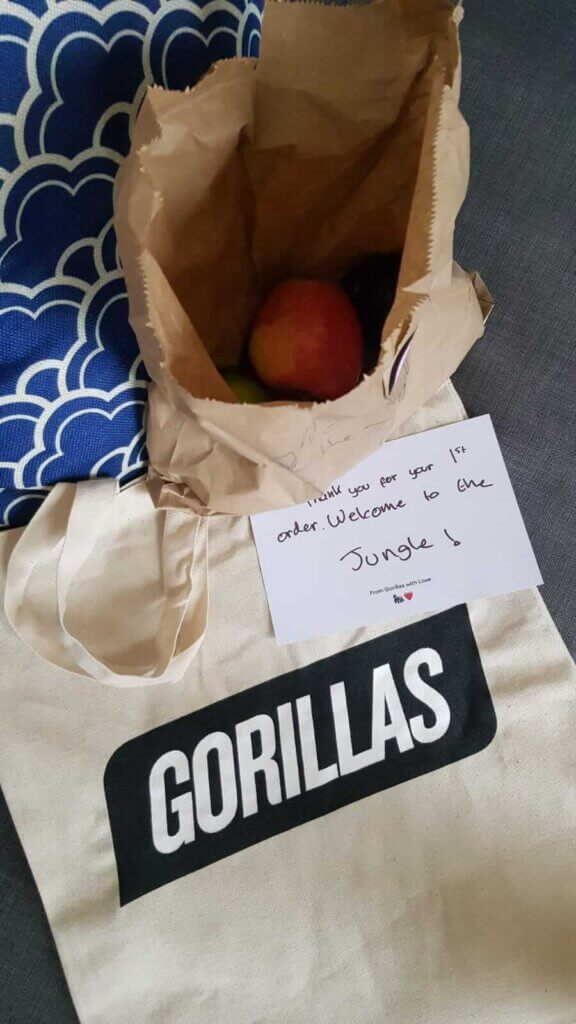 Gorillas UK review: Delivered in 8min for my first order and the give me a welcome gift with a Gorillas branded tote bag, some complimentary fruits with a little card saying thanks for my first order.