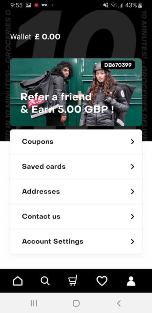Gorillas grocery app referral code for 5 GBP off to try the app