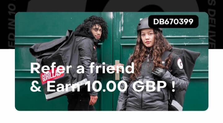 Gorillas promo code 10 GBP with referral code DB670399