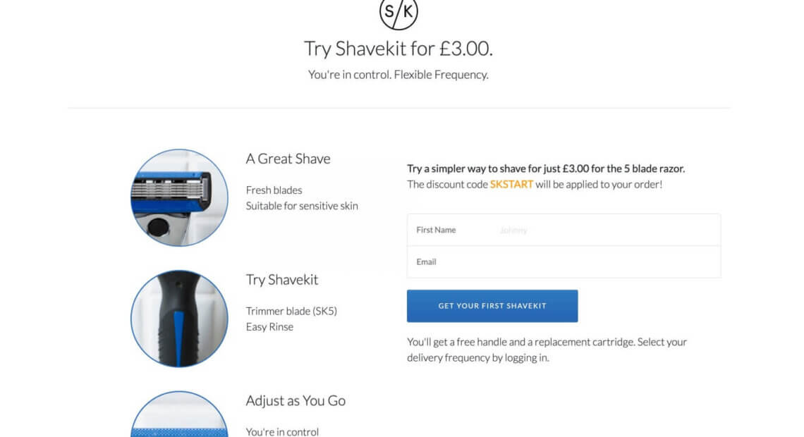 SHAVEKIT promo code - try for £3 - referral code discount for Shave kit