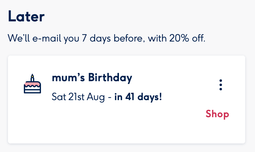 Moonpig free discount code 20% off when you set reminders date