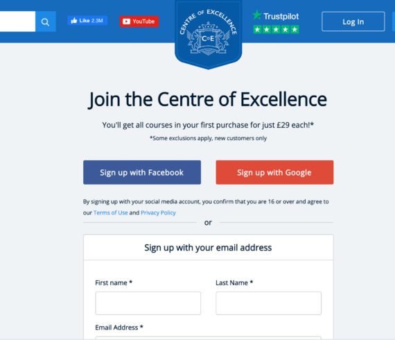 Centre of excellence referral code, £29 offer discounted first course