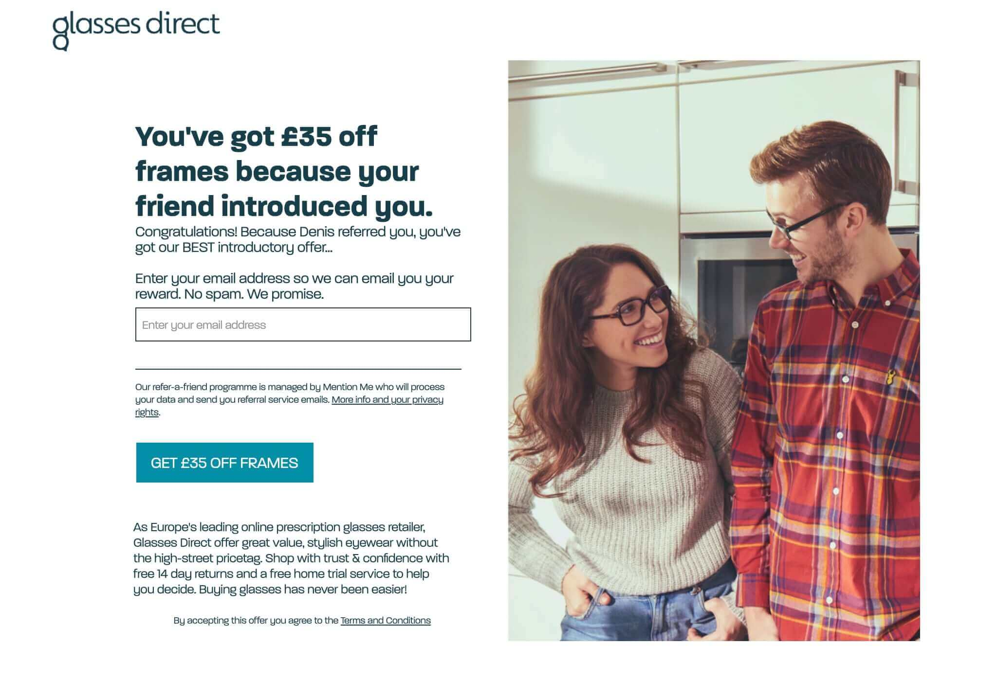 Glasses direct referral invitation for 35 GBP off frames - Glasses direct refer a friend code