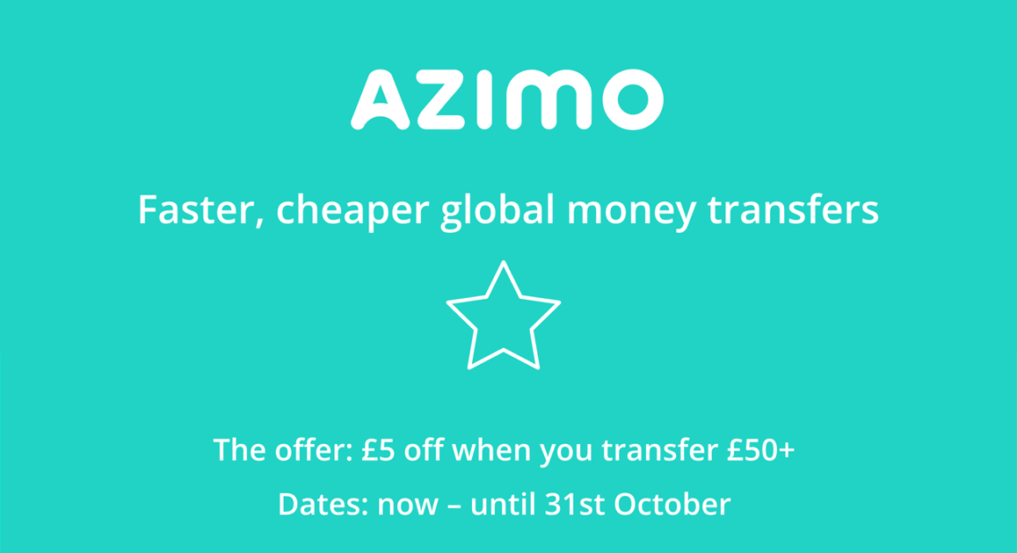 Azimo coupon code £5 off when you transfer £50+ until 31st October 2021