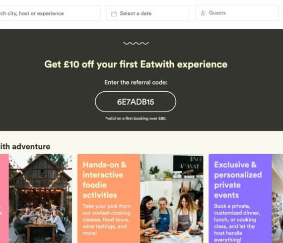 EatWith London referral code discount for £10 off